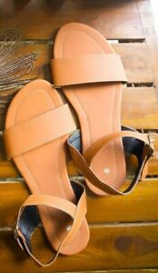 100%Handmade Ladies open Toe Brown color sandal with adjustable Buckle Straps