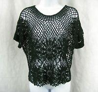 Size M Black Crochet Short Sleeve Boho Sweater