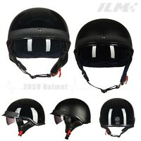 Motorcycle Retro Vintage Half Open Face Helmet Sun Visor DOT Approved S M L XL