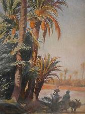 """Mattéo BRONDY (1866-1944) : """" Palmeraie à Marrakech """" - Aquarelle signée"""