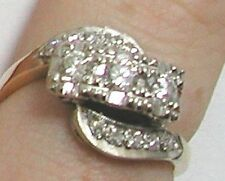 Art Deco 14ct Gold 3 Stone Diamond Twist Ring