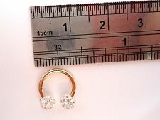 Gold Titanium Tragus Rook Daith Lip Horseshoe Ring Clear Crystal Balls 16 gauge