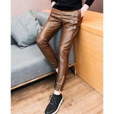 Leather Jeans Pant Real Style Men Tan Mens 501 Pants S Trousers Bikers Punk 55