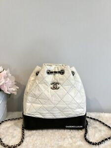 1000% AUTH! 🤍🖤 Chanel Gabrielle Small White Black Backpack Bag