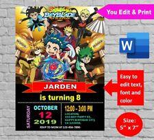 Beyblade Burst Gold Birthday Party Invitation Editable & Printable Digital docx