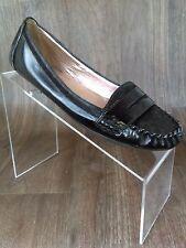 BCBG Generation Women's Caliana Black Slip On Loafer Flats Size 7B Leather Hyde