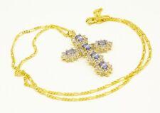 BLUE TANZANITE WHITE TOPAZ 9 CARAT GOLD CROSS PENDANT NECKLACE