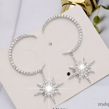 925Silver Delicate Moon And Anise Star Stud Crystal Women Earrings Date Jewelry