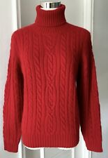 Brooks Brothers Red Sweater Turtleneck Long Sleeves Cable Merino Wool/Angora M