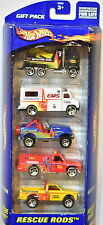HOT WHEELS 5 CAR GIFT PACK RESCUE RODS RIG EMS AMBULANCE DISASTER TRUCKS