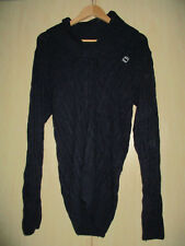 ladies G-STAR RAW BLUE CHUNKY CABLE KNIT 70% WOOL JUMPER SIZE MEDIUM (LONG)