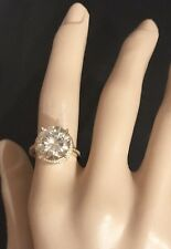 Huge 4Ct  Moissanite Solitaire Ring in 10K Yellow Gold Setting &Genuine Diamonds