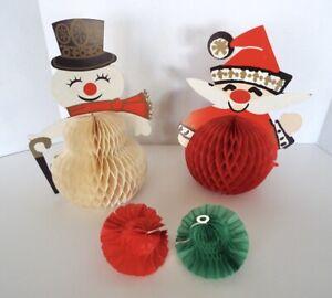 Vintage Christmas Honeycomb Diecuts 1965 Capri Japan Santa Snowman Centerpieces