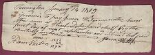 Bennington, VT, Promissory Note, January 14, 1802 James Phillips and Adam Waters