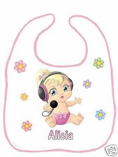 Bavoir bébé blanc bordure rose réf F09 personnalisé avec prénom