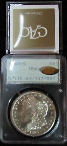 "1880-S Morgan Silver Dollar PCGS MS-64 ""rattler"" holder - CAC GOLD - PQ+++"
