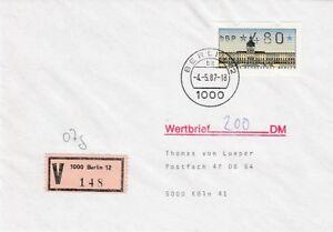 Berlin Beleg Atm 480 Lettre de Valeur