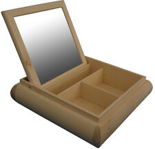 Unpainted Natural Wooden Make Up Cosmetics Box with mirror and 3 compartments