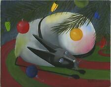 CHRISTMAS SIAMESE CAT TREE LIGHTS BULBS NEW YORK APARTMENT BEATNIK OIL PAINTING