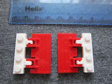 LEGO 2 X CRICCHETTO A Cerniera TRENO/FERROVIA Gate/botole/Persiane Rosso e Bianco