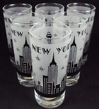 Zizo 60108 Drinking Glasses, 10 oz, Set Of 6, New York City Skyline, Black/White