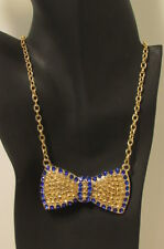 Women Bow Neck Tie Fashion Jewelry Necklace Gold Metal Chains Bling Dressy Fancy