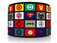 """SUPERHERO LOGOS LIGHT SHADE 11""""  KIDS ROOM matches duvet set GAMING  FREE P&P"""