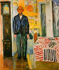 Self Portrait Between The Clock And The Bed By Edvard Munch Art Repro FREE S/H