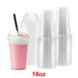 16oz Smoothie Cups Dome Lids Clear Party Milkshake Juice Strong Tumbler Plastic