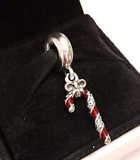 Authentic Pandora Sparkling Candy Cane Charm W/ Pandora TAG & BOX #796382EN39
