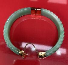 Vintage Jade &  925 Sterling Silver Gold Plated Bangle Cuff Bracelet