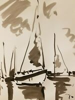 JOSE TRUJILLO - ABSTRACT Impressionism Black INK WASH on Paper Lake Sailboats
