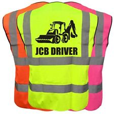 JCB DRIVER  HI VIS VIZ KIDS VEST JOKE CUSTOM WAISTCOAT CHILD YELLOW ORANGE PINK