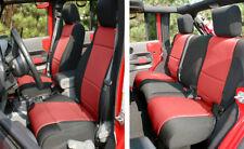 Front & Rear Black / Red Neoprene Seat Covers for Jeep Wrangler JK 07-10 4 Door