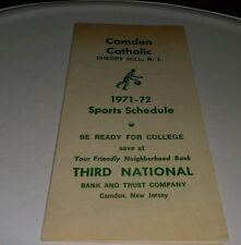Camden Catholic Cherry Hill NJ 1971-2 sports schedule Third National Bank Camden