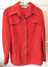 Vintage 1970s Act Iii Red Shirt Jacket, Dacron Polyester & Wool Blend, M