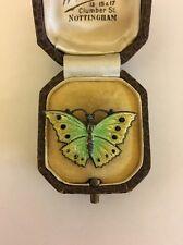 Unusual Vintage Antique Sterling Silver Norwegian Enamel Green Butterfly Brooch