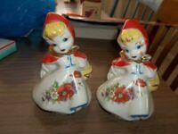 """Vintage Large DUTCH GIRLS Salt & Pepper SHakers 5 1/2"""""""