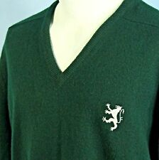 John Morrison Mens M Green Pure Lambswool Sweater Rampant V Neck Jumper SCOTLAND