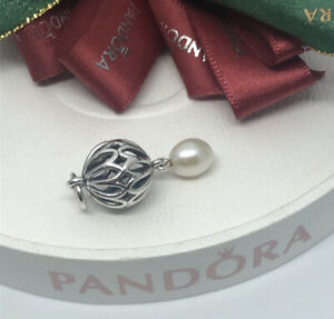 Pandora Sterling Silver Pearl Drop Pendant #390342P RETIRED Authentic Ale