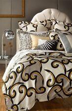 Diane von Furstenberg BROKEN WAVES 4pc Queen Duvet Shams Pillow White Gold Black