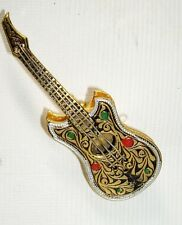 NEW oLD STOCK Vintage DAMASCENE Enamel GUITAR Pin Brooch~SPAIN