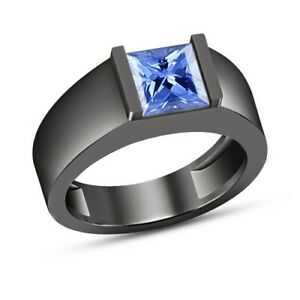 Men's 10K Black Gold Over 1 Ct Princess Blue Sapphire Wedding Engagement Ring