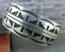 Signed Native American Kee Brown Carved Sterling Silver Tribal Cuff Bracelet