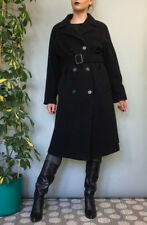 Retro Y2K Modern Anne Weyburn Long Black Smart Wool Winter Coat Medium UK 14