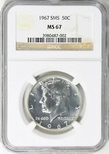 1967 SMS KENNEDY SILVER HALF DOLLAR NGC MS67 BU COIN IN HIGH GRADE