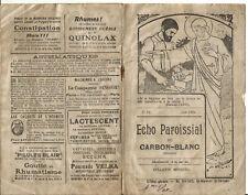 Carbon-Blanc (33) Echo paroissial de 1921. 16 Pages.