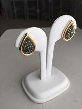 Judith Jack Vintage Marcasite Gold Clip On Earrings