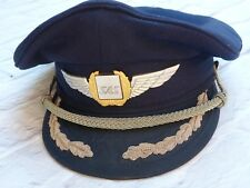 Old SAS Scandinavian Airlines PILOT CAPTAIN Cap Hat with Cockade Wings Badge