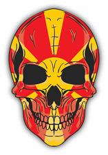 "Skull Flag Macedonia Car Bumper Sticker 4"" x 5"""